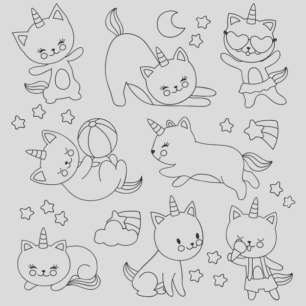 hand drawn cute flying unicorn cats vector cartoon characters kids coloring book