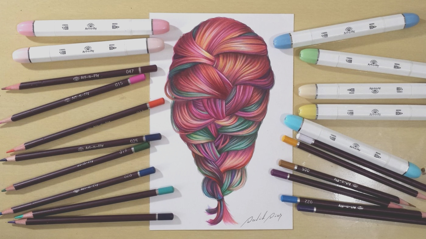 coloring colorful hair how to draw hair with marker tutorial