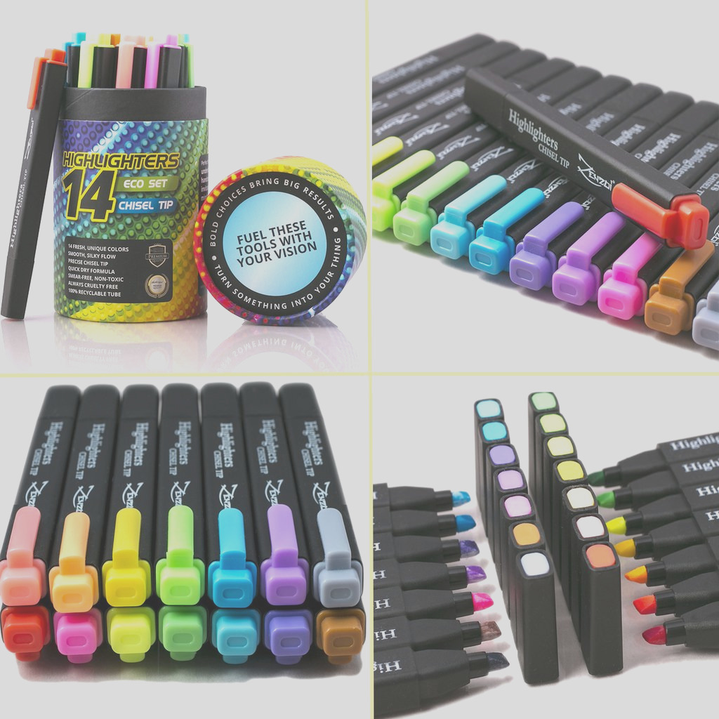 highlighter markers 14 unique colors fluorescent classic pastel chisel tip
