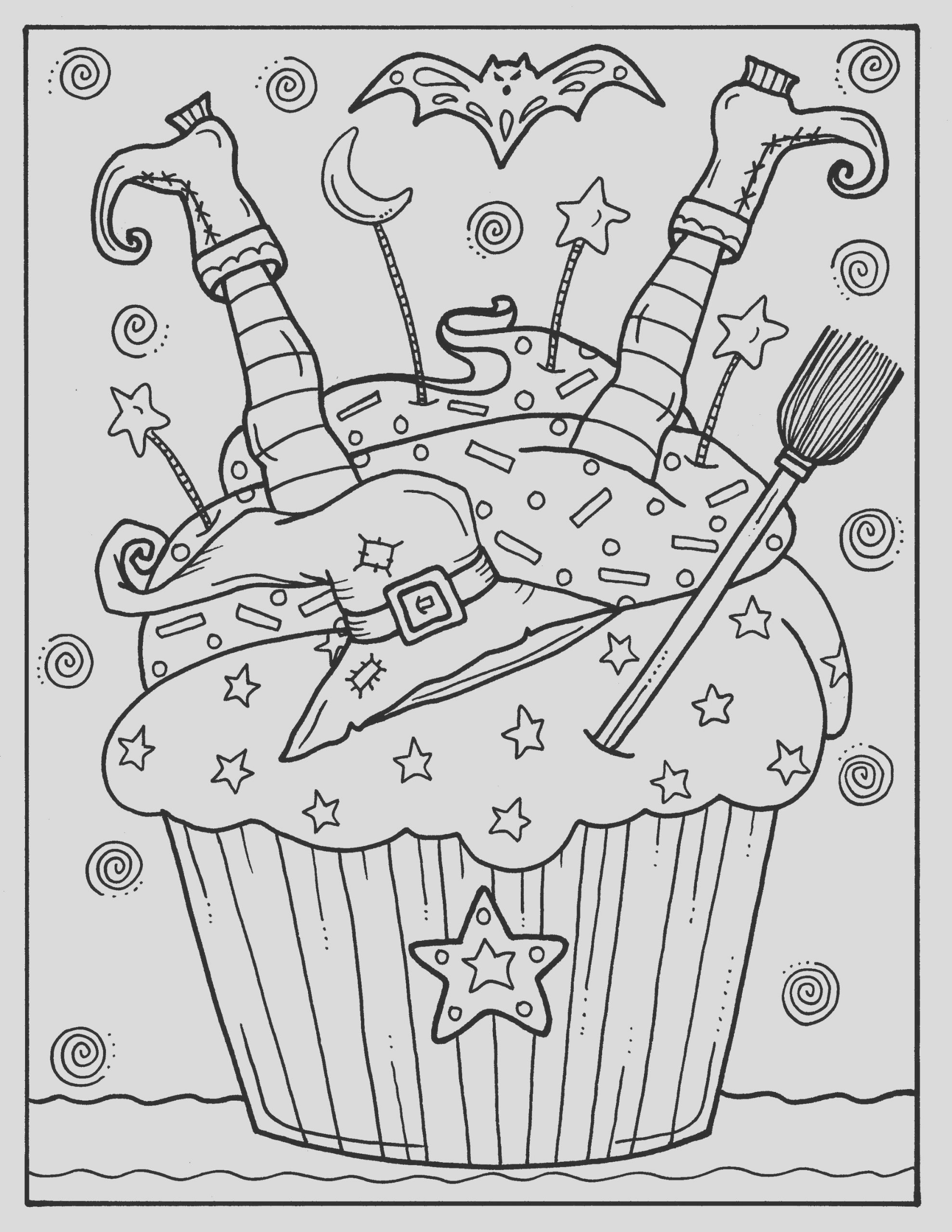 5 pages halloween cupcakes to color