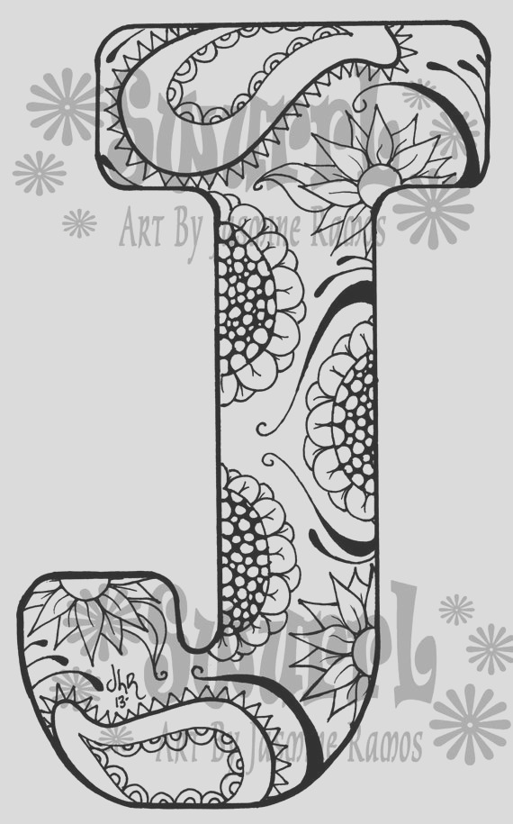 instant coloring page monogram