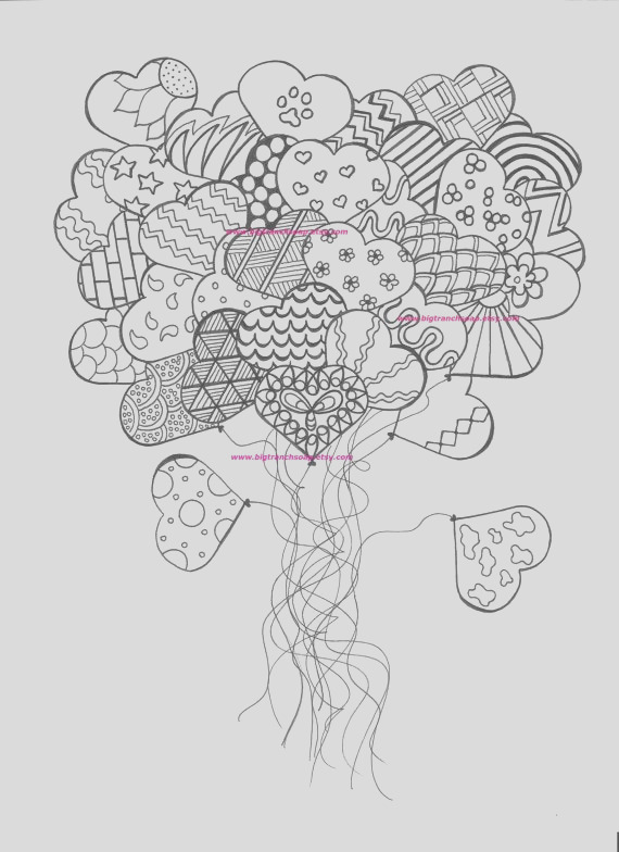 adult coloring page heart balloons hand