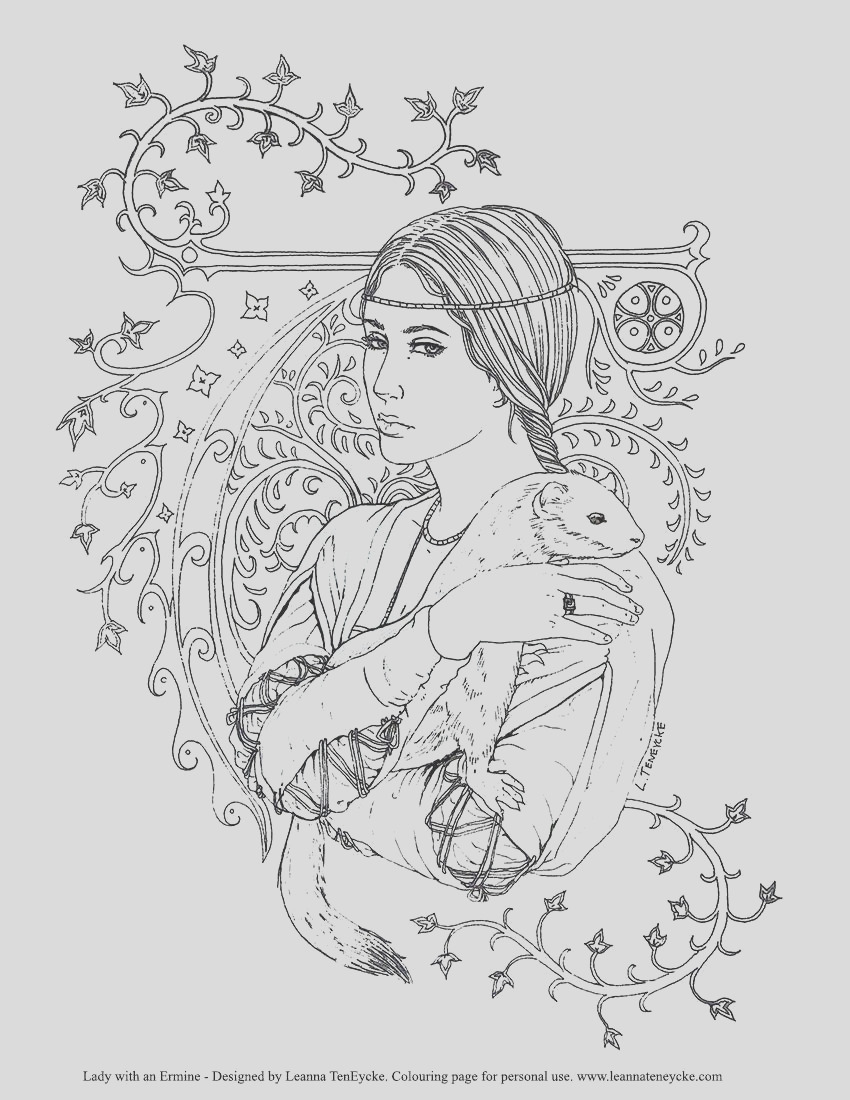 colouring page renaissance lady with
