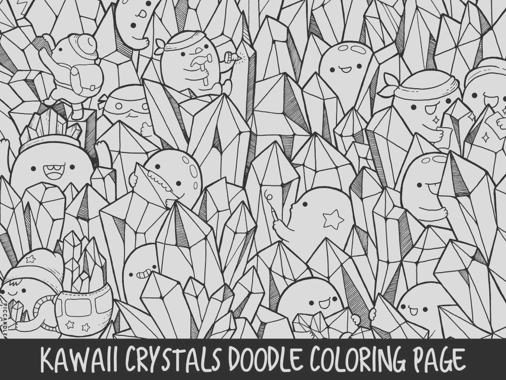 crystals doodle coloring page printable