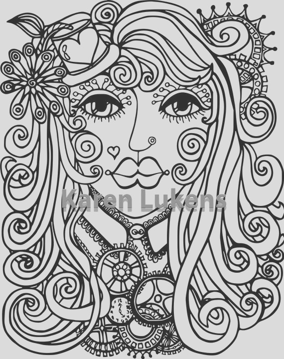 steampunk girl 1 adult coloring book