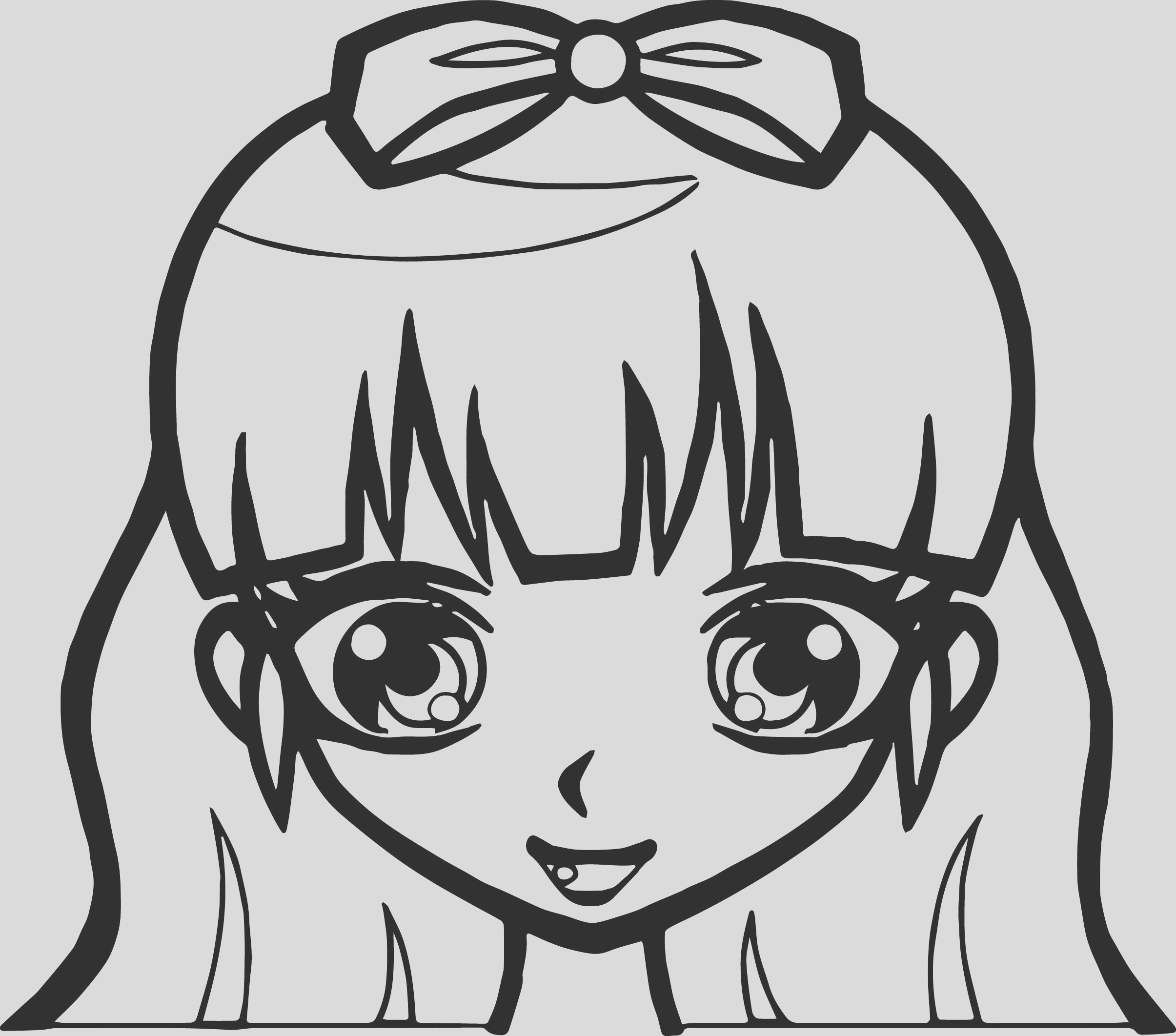 manga cute girl face coloring page