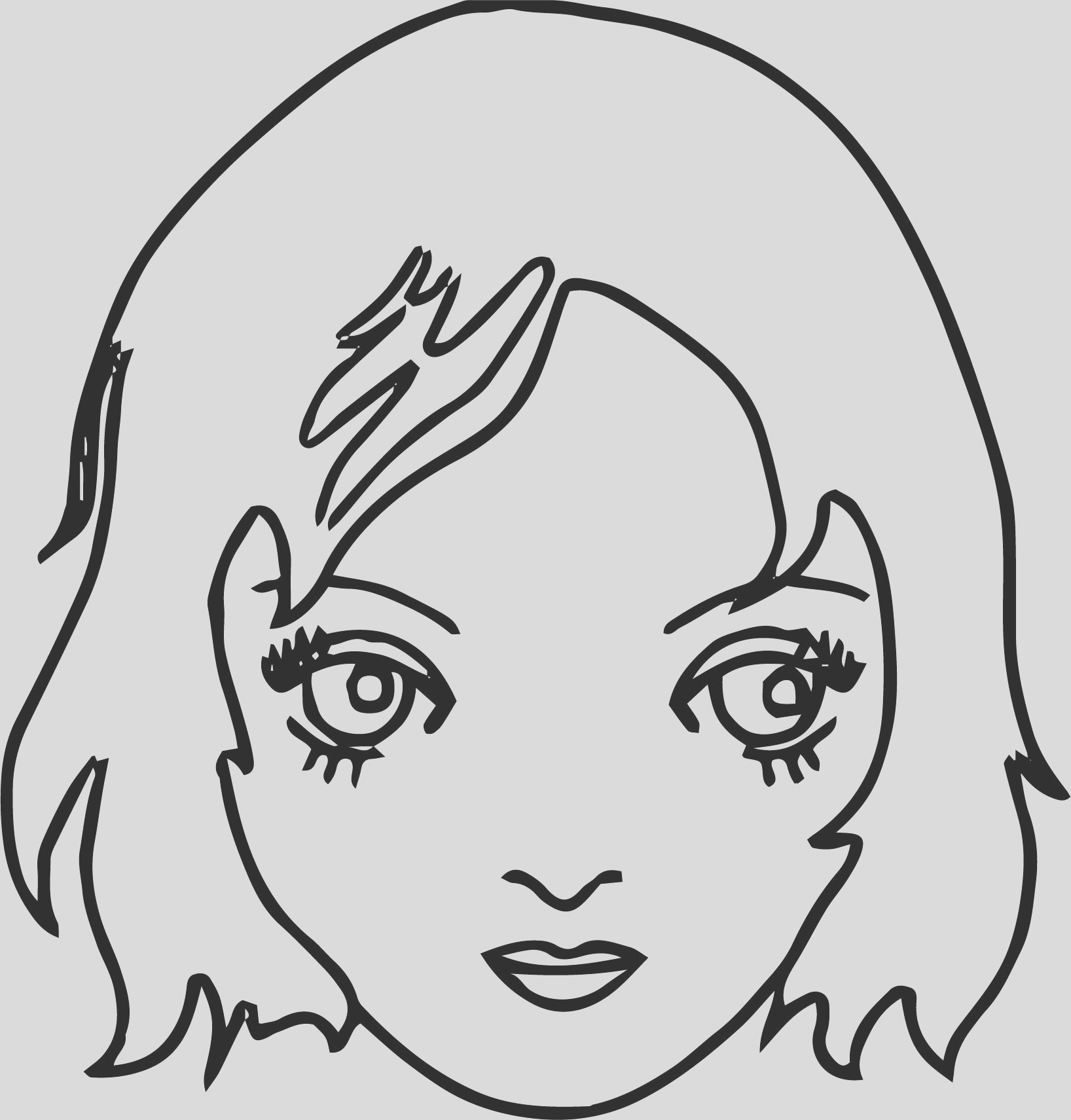 new girl face coloring page