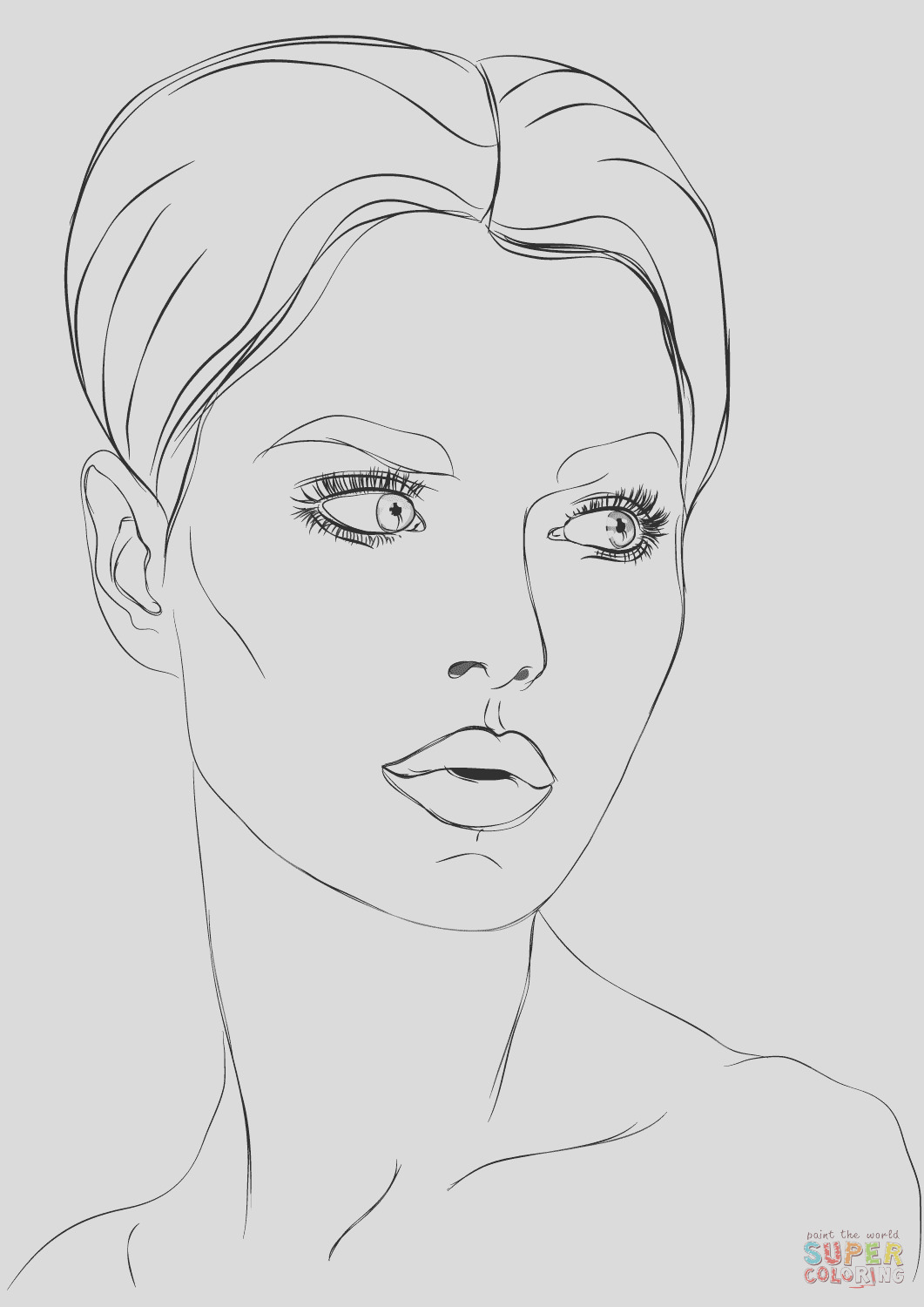 coloring pages of girls faces