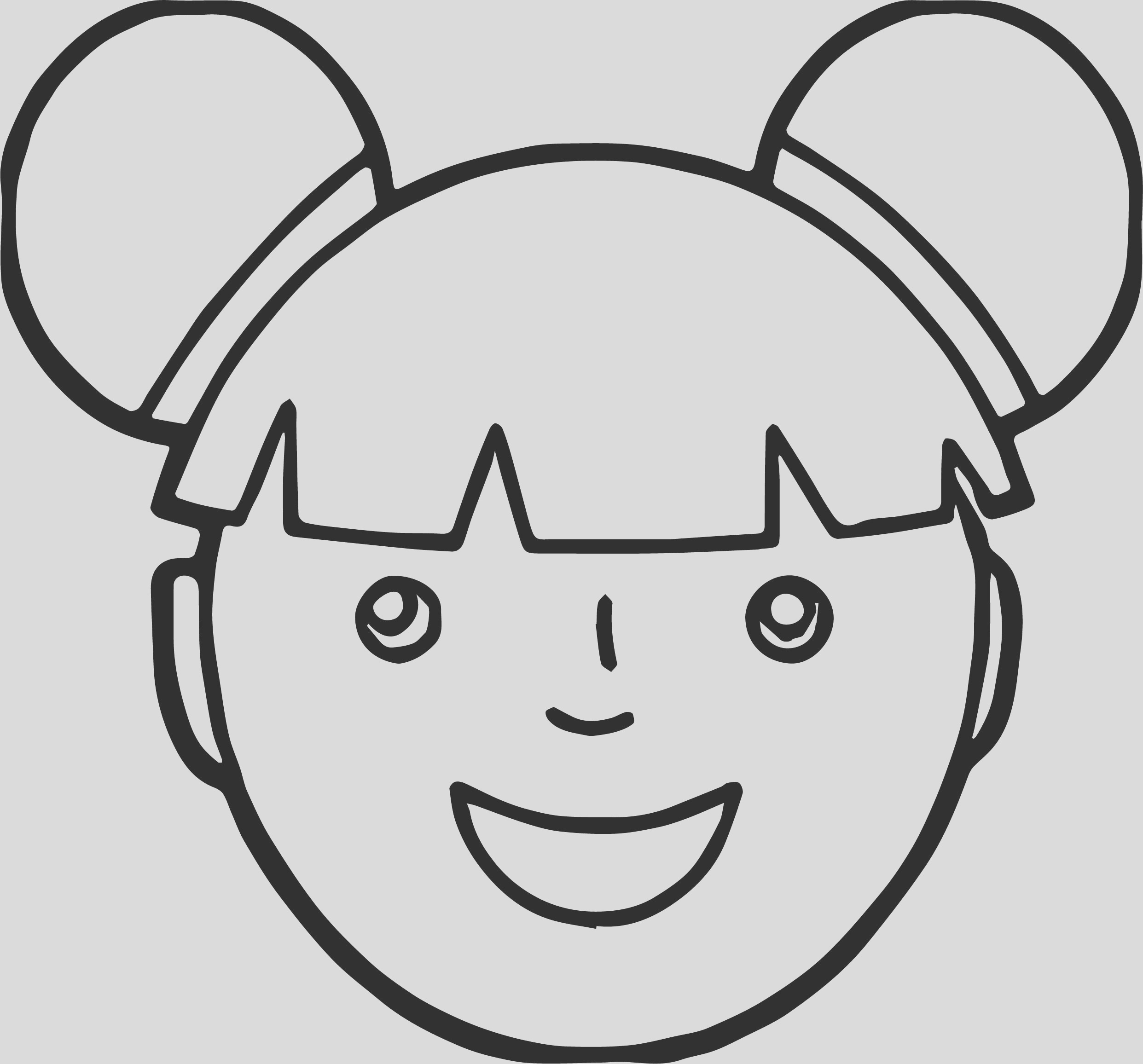 asian girl face coloring page