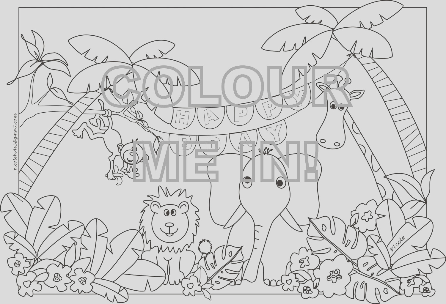jungle animals colouring pagesheet