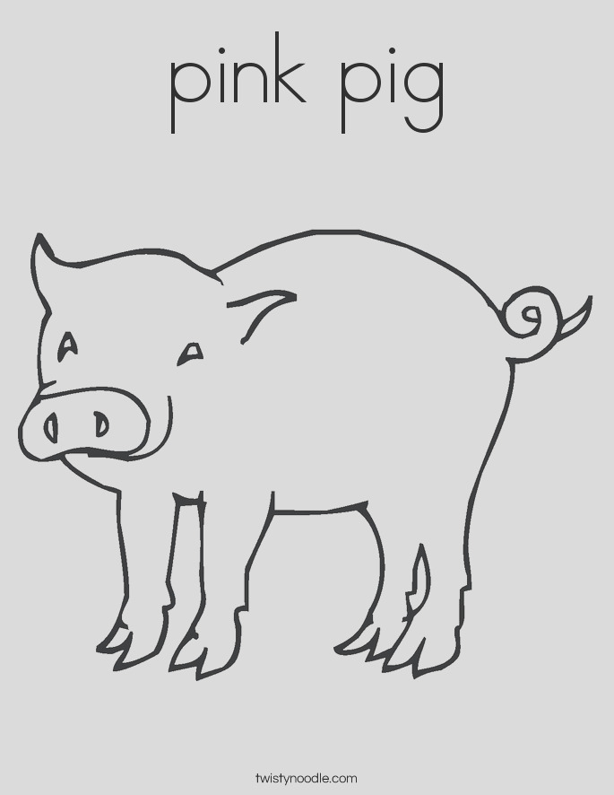 pink pig 3 coloring page