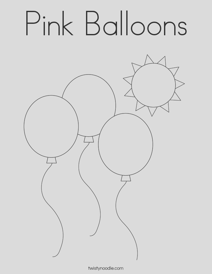 pink balloons coloring page