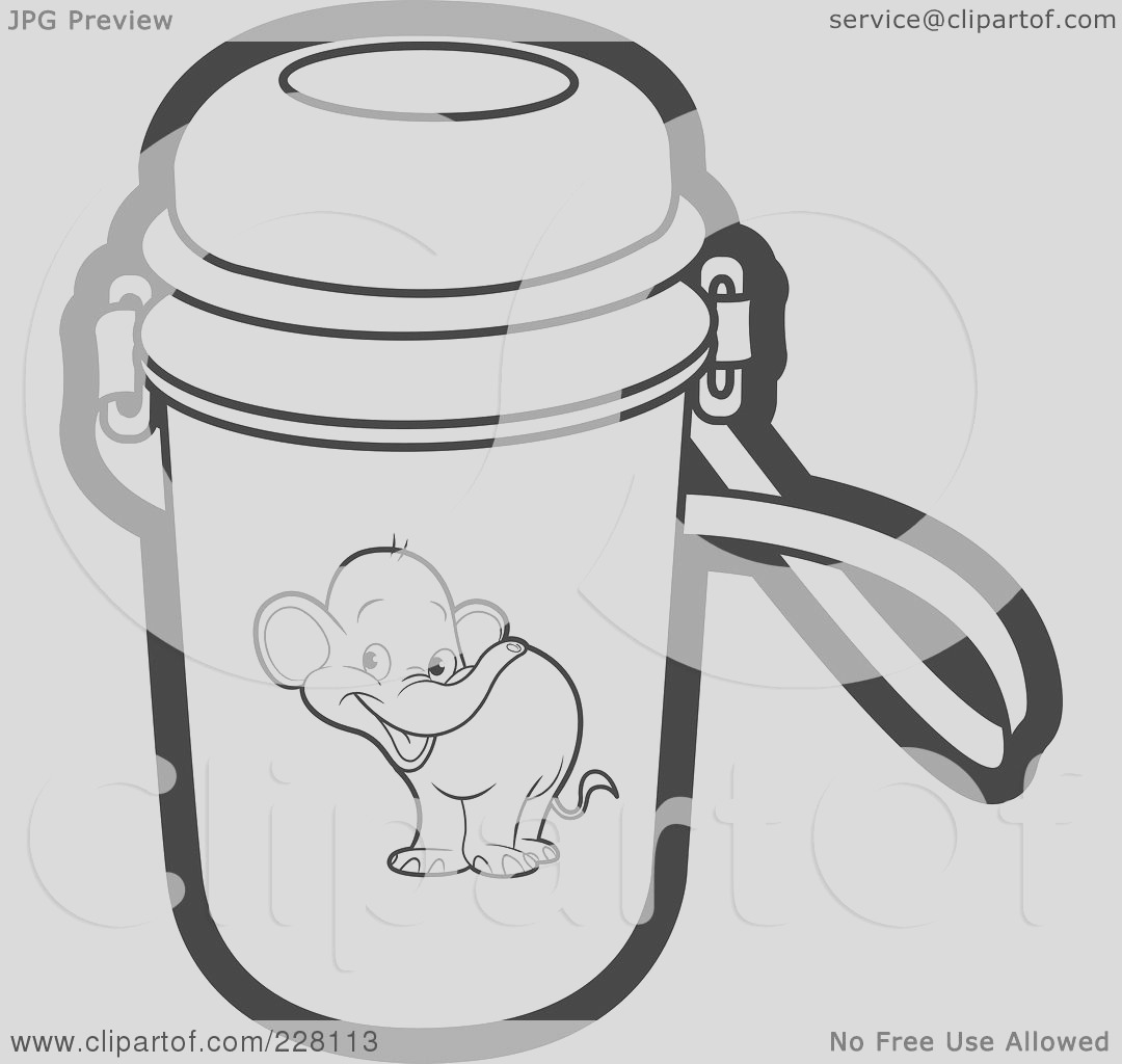 coloring page outline of a water bottle with an elephant graphic