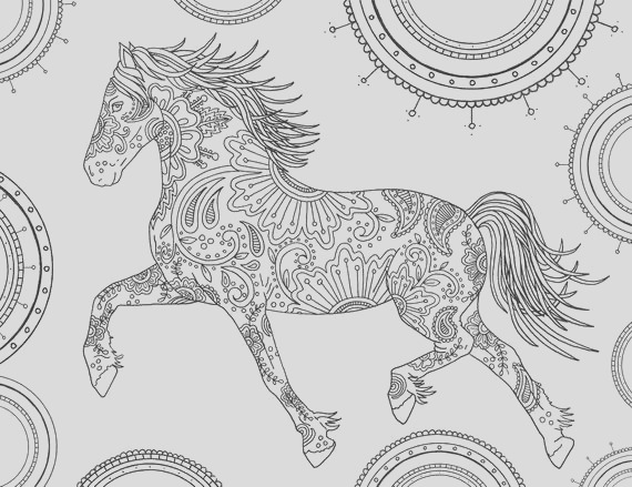 horse adult coloring page t wall art