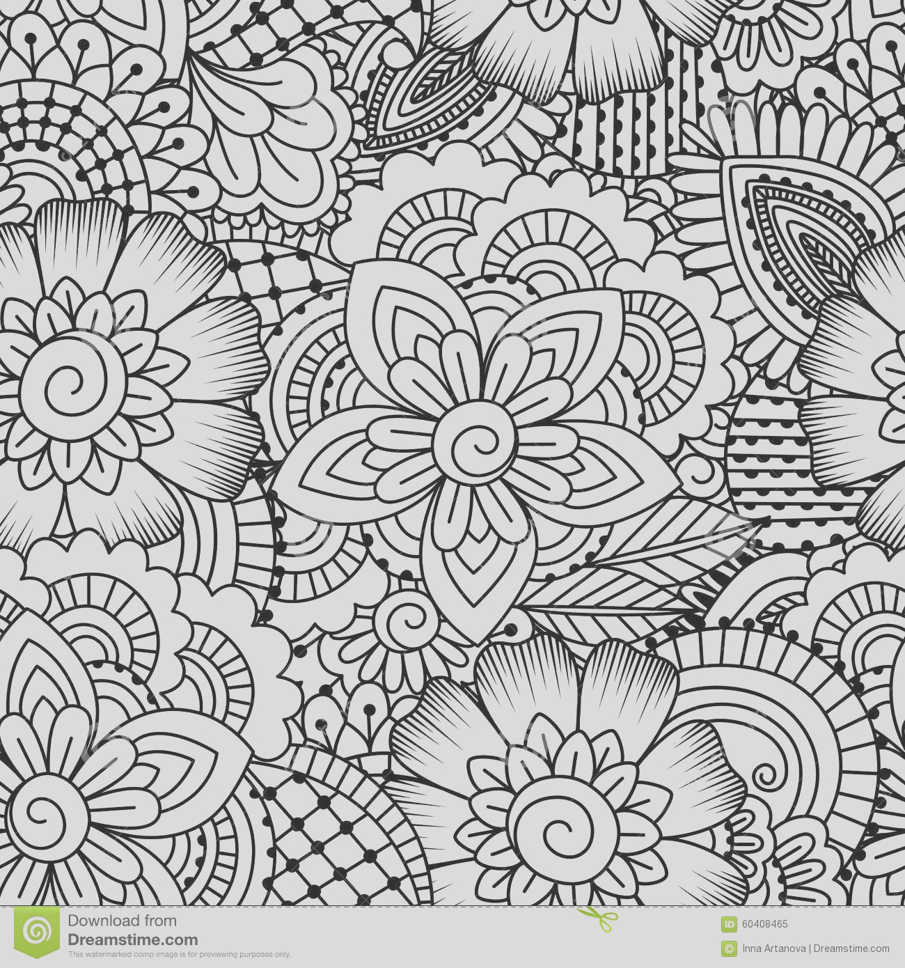 stock illustration seamless black white pattern ethnic henna hand drawn background coloring book textile wrapping image