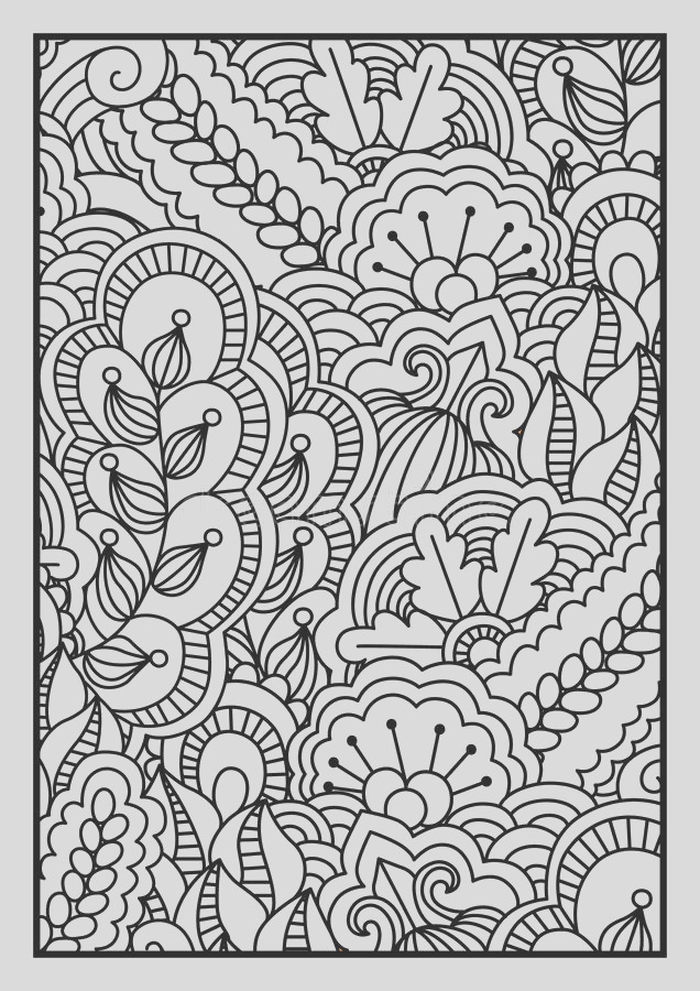 stock illustration pattern coloring book black white background floral ethnic hand drawn elements design vector illustration image