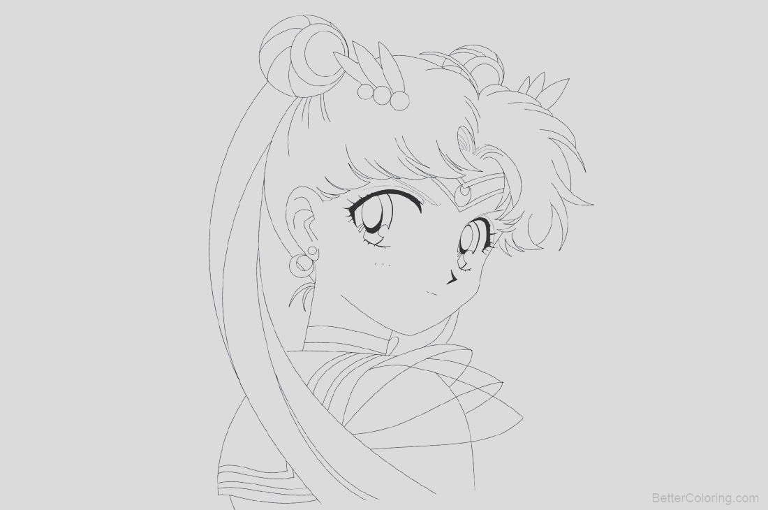 sailor moon coloring pages line drawing black and white