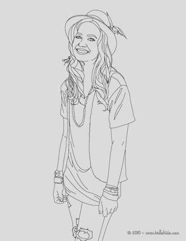 demetria lovato with hat coloring page