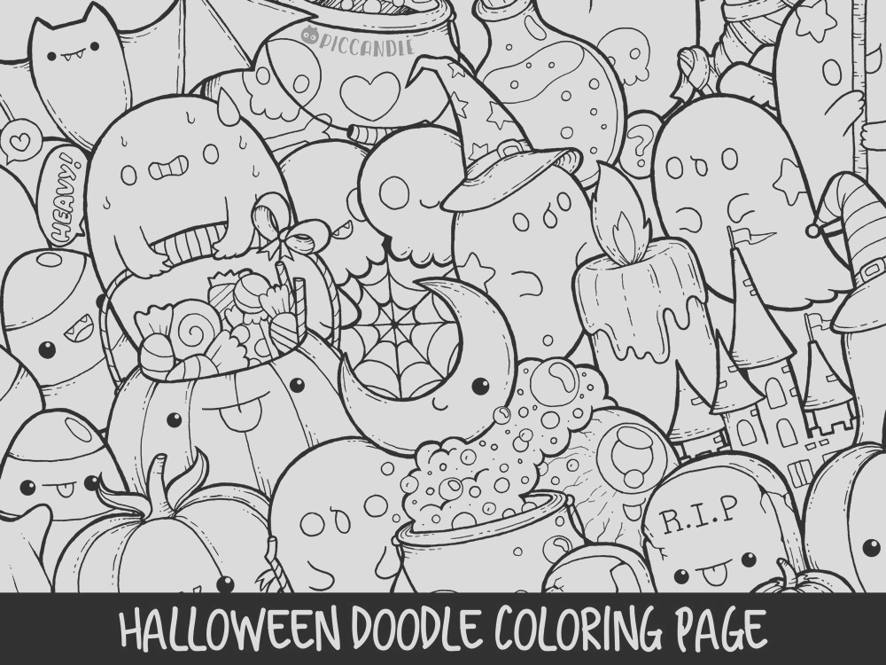 halloween doodle coloring page printable