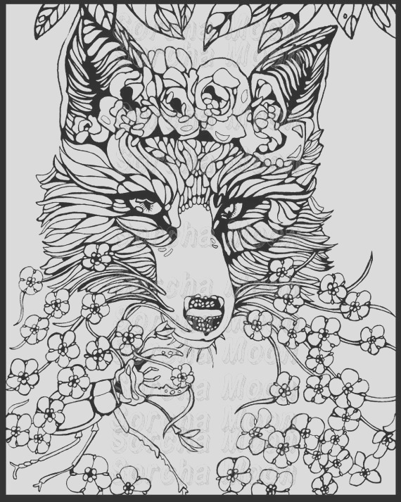 fox for me nots coloring page for