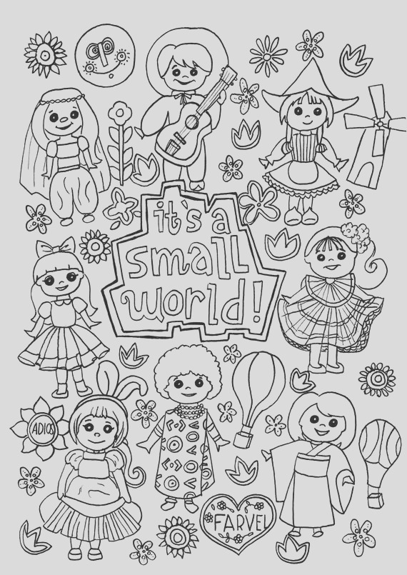 its a small world coloring page digital