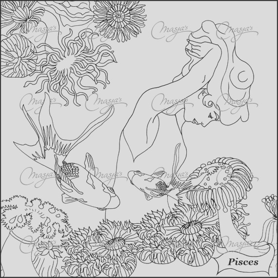 masjas pisces zodiac sign coloring page