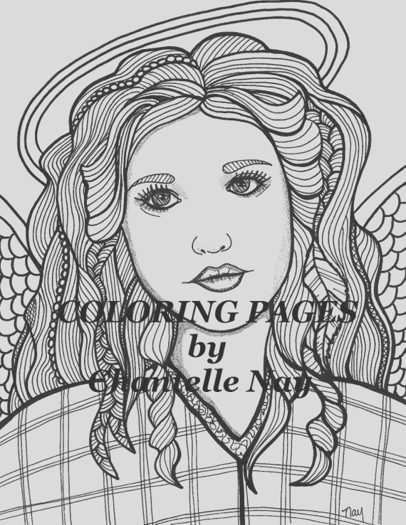 coloring page angel woman face adult