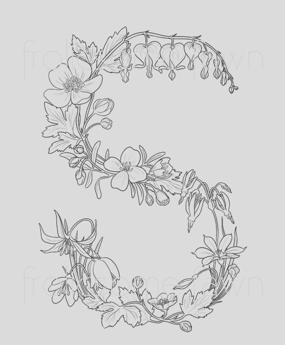 letter s coloring page for adults