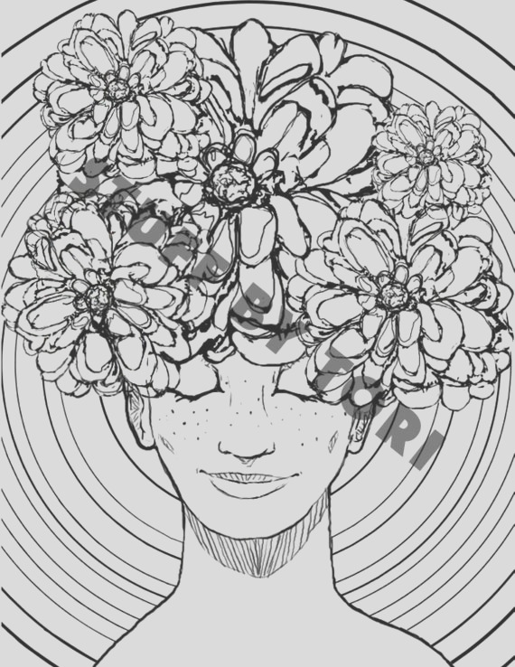 printable coloring page cool flower