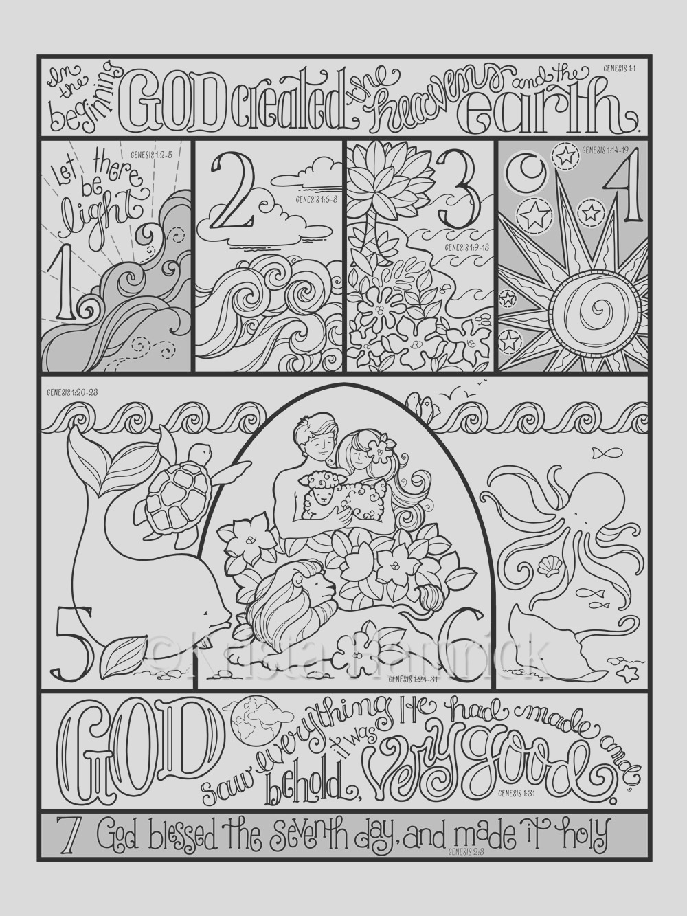 days of creation coloring page in three