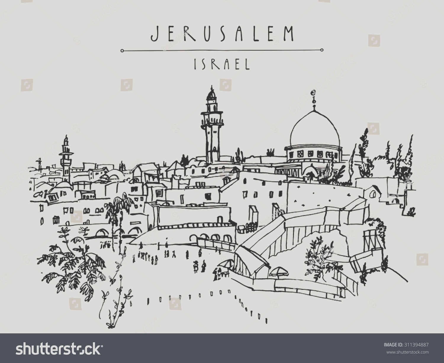 stock vector jerusalem israel old city skyline wailing wall handmade drawing isolated in vector postcard or