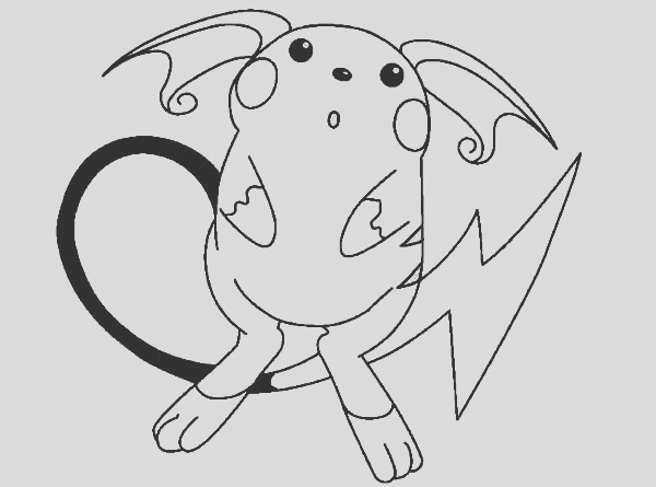 raichu is astonished coloring page