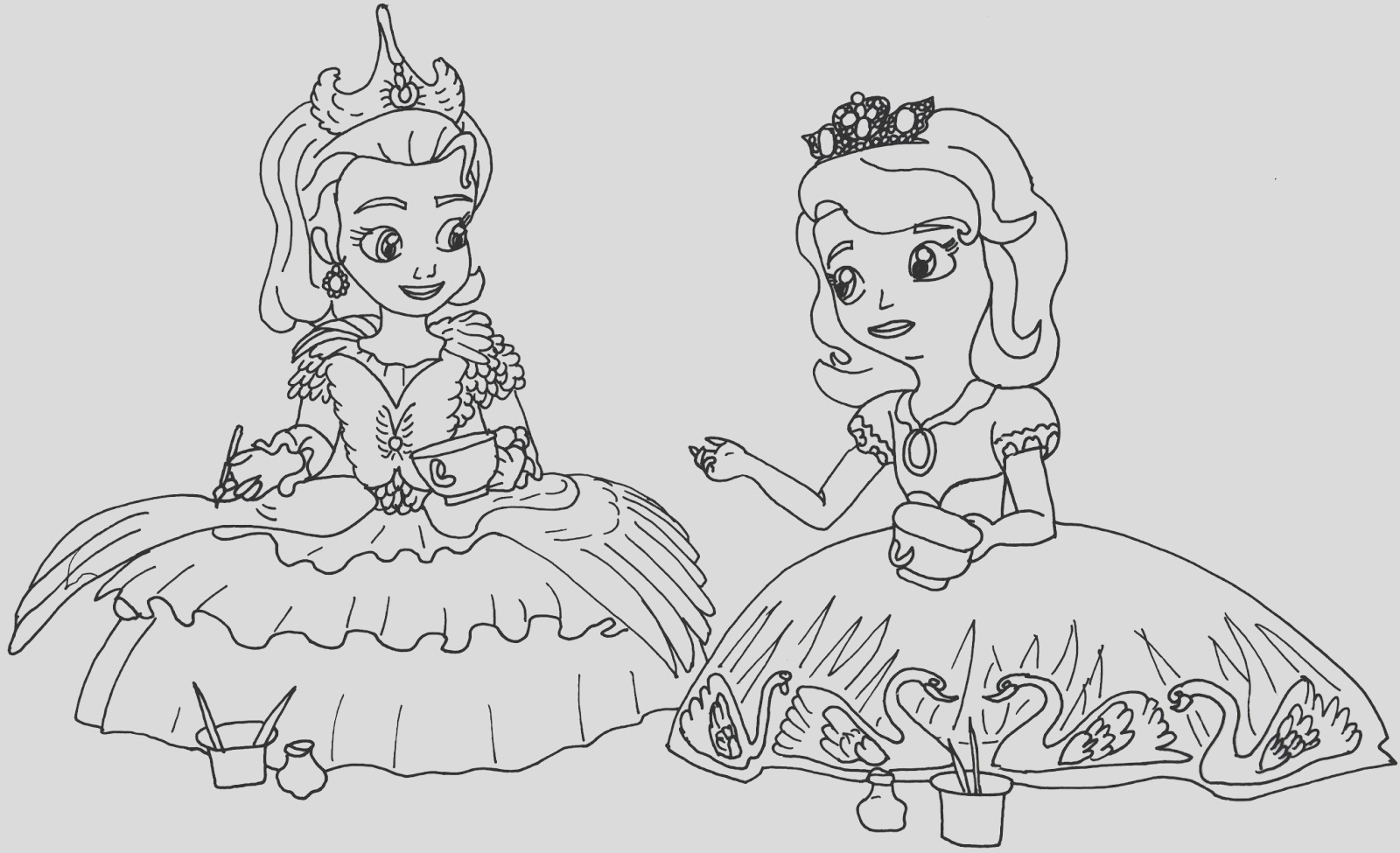 tea for too many sofia first coloring
