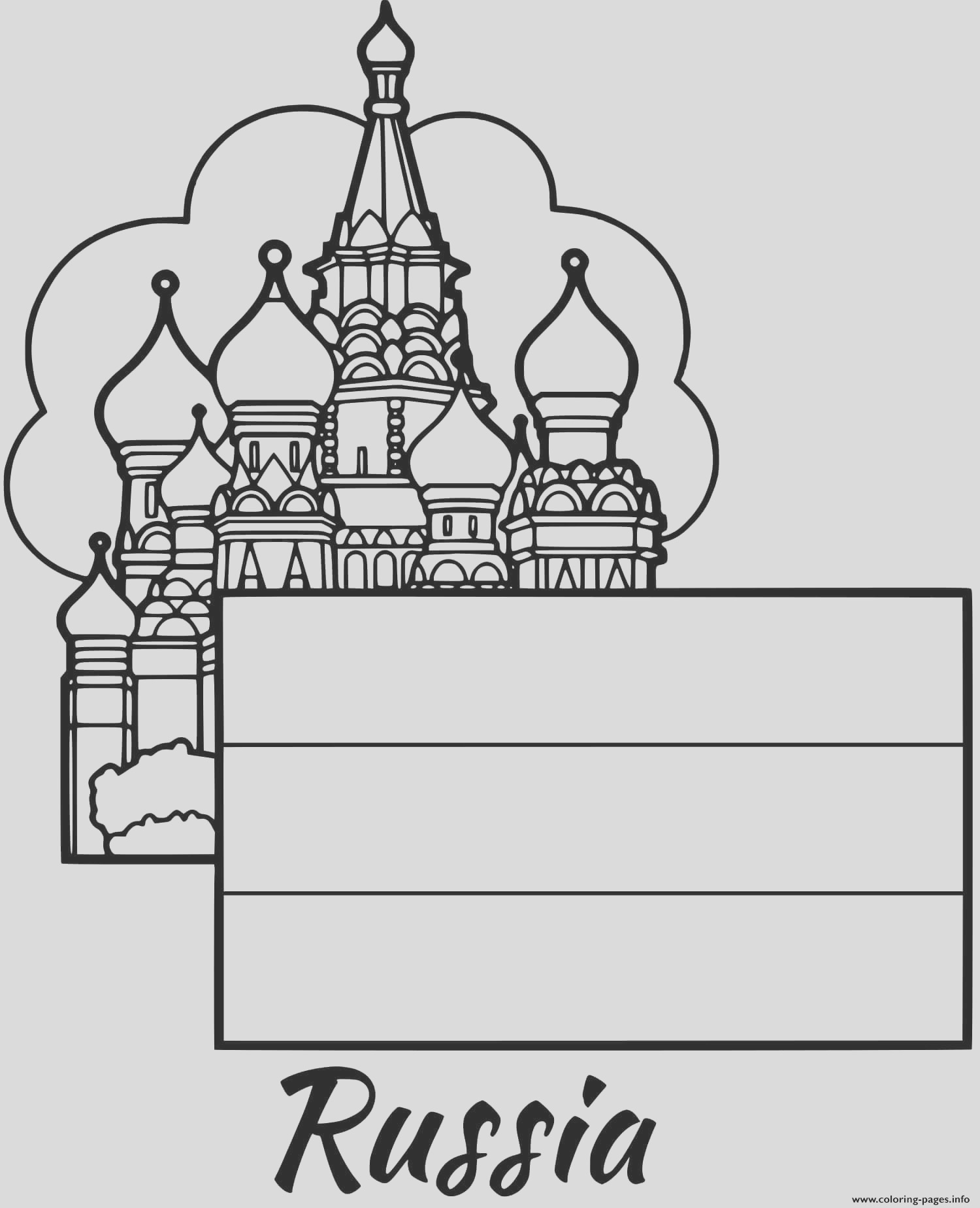russia flag moscow printable coloring pages book
