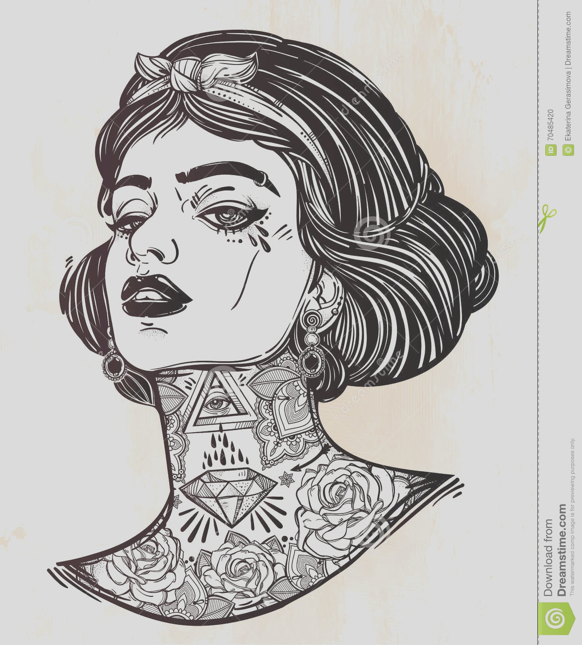 stock illustration adult coloring vector young tattooed girl book page face book page adults female portriat flash tattoo style image