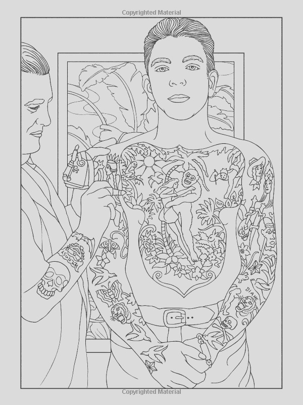 body art tattoo coloring pages for adults