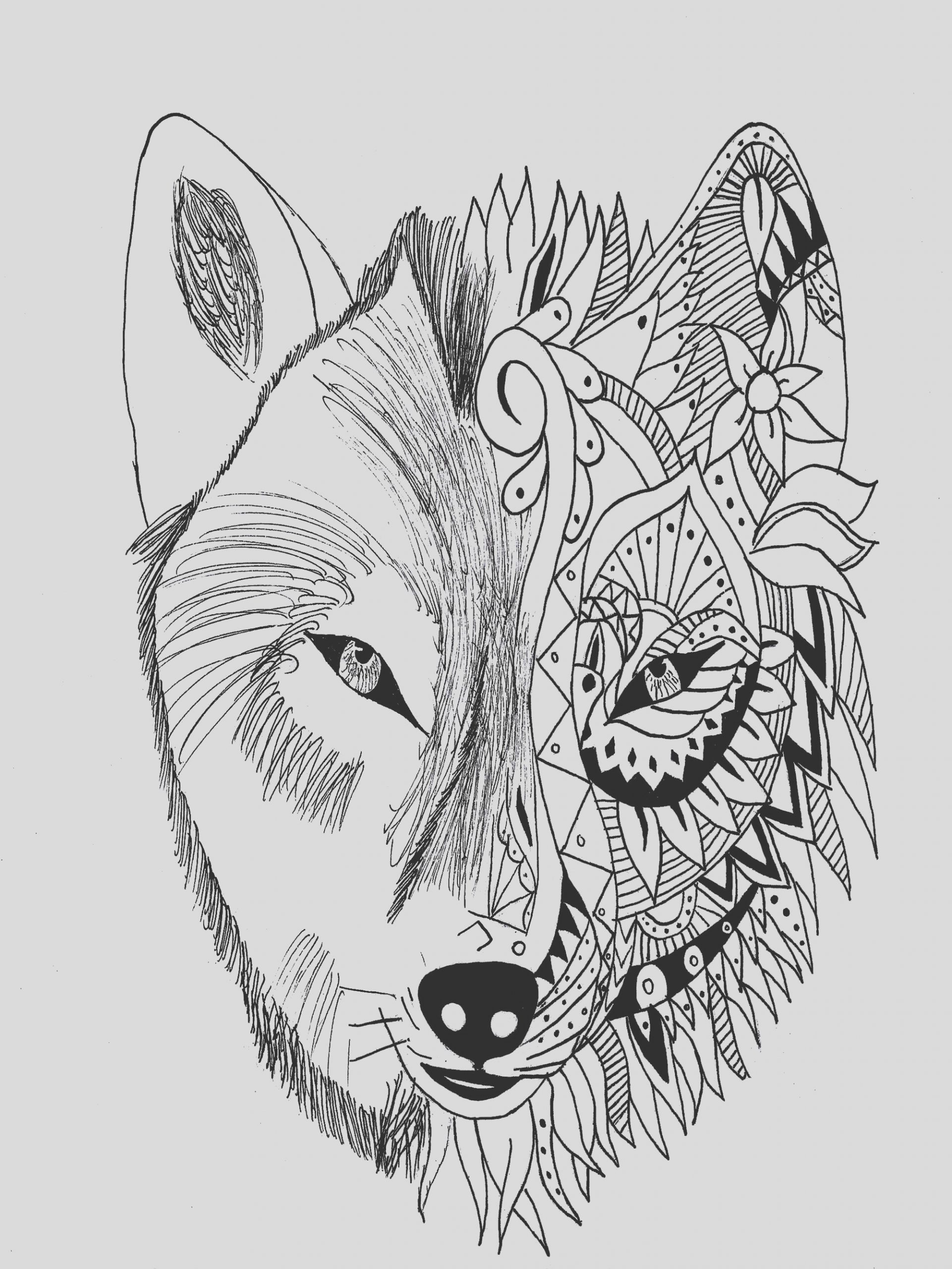 image=tatoo coloring page tattoo wolf krissy 1