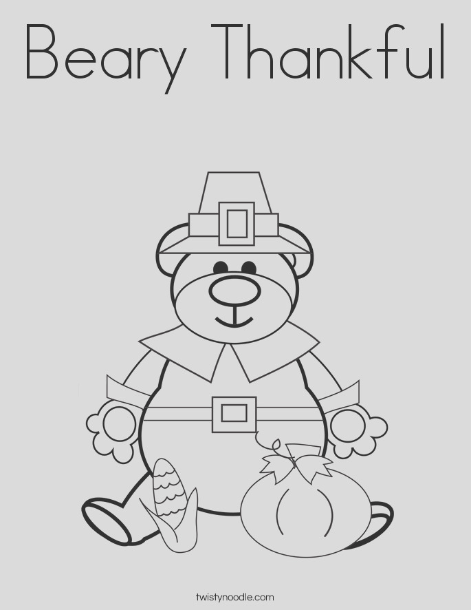 beary thankful coloring page