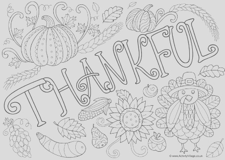 thankful doodle colouring page