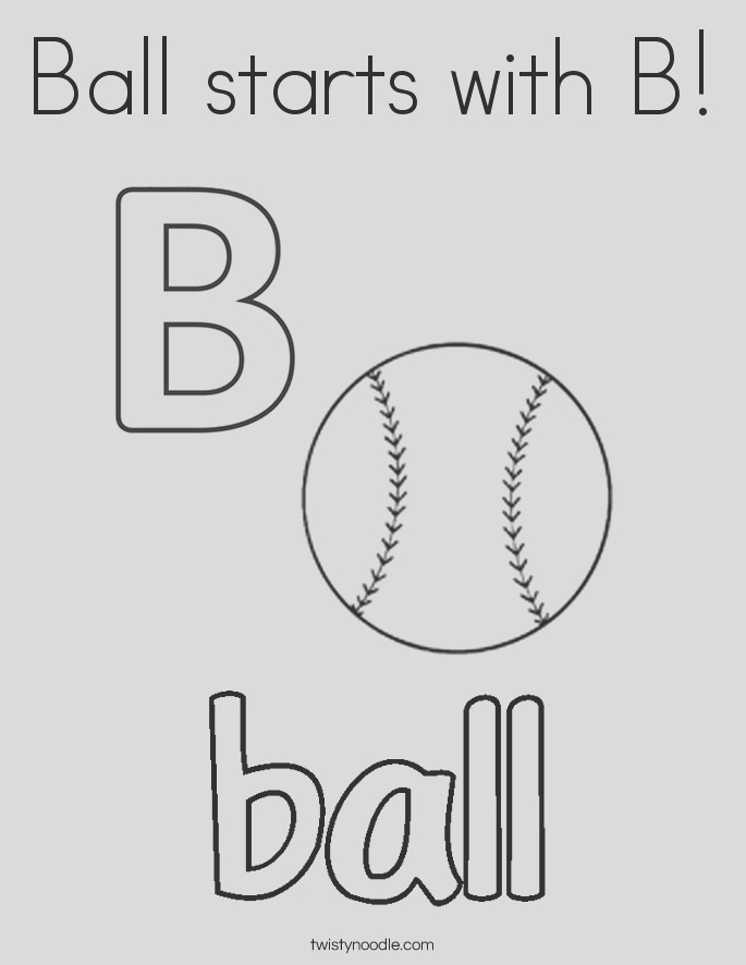ball starts with b 2 coloring page