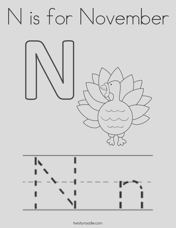n is for november 17 coloring page