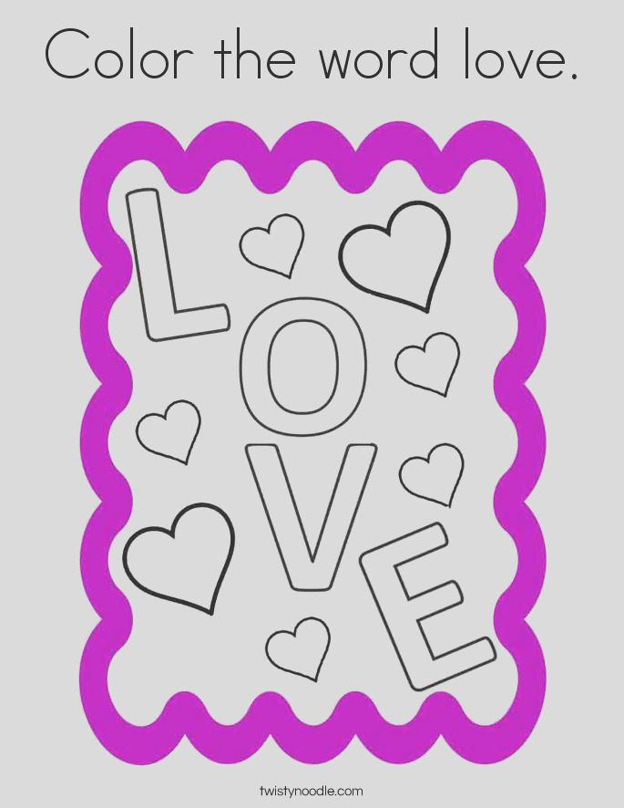 color the word love coloring page