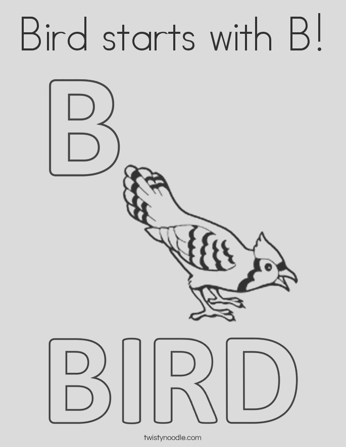 bird starts with b coloring page