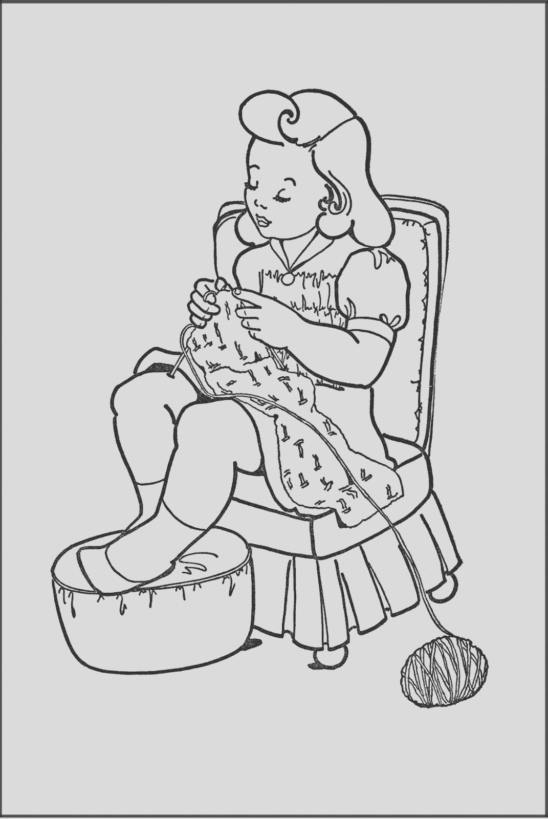 kids printable coloring page girl knitting