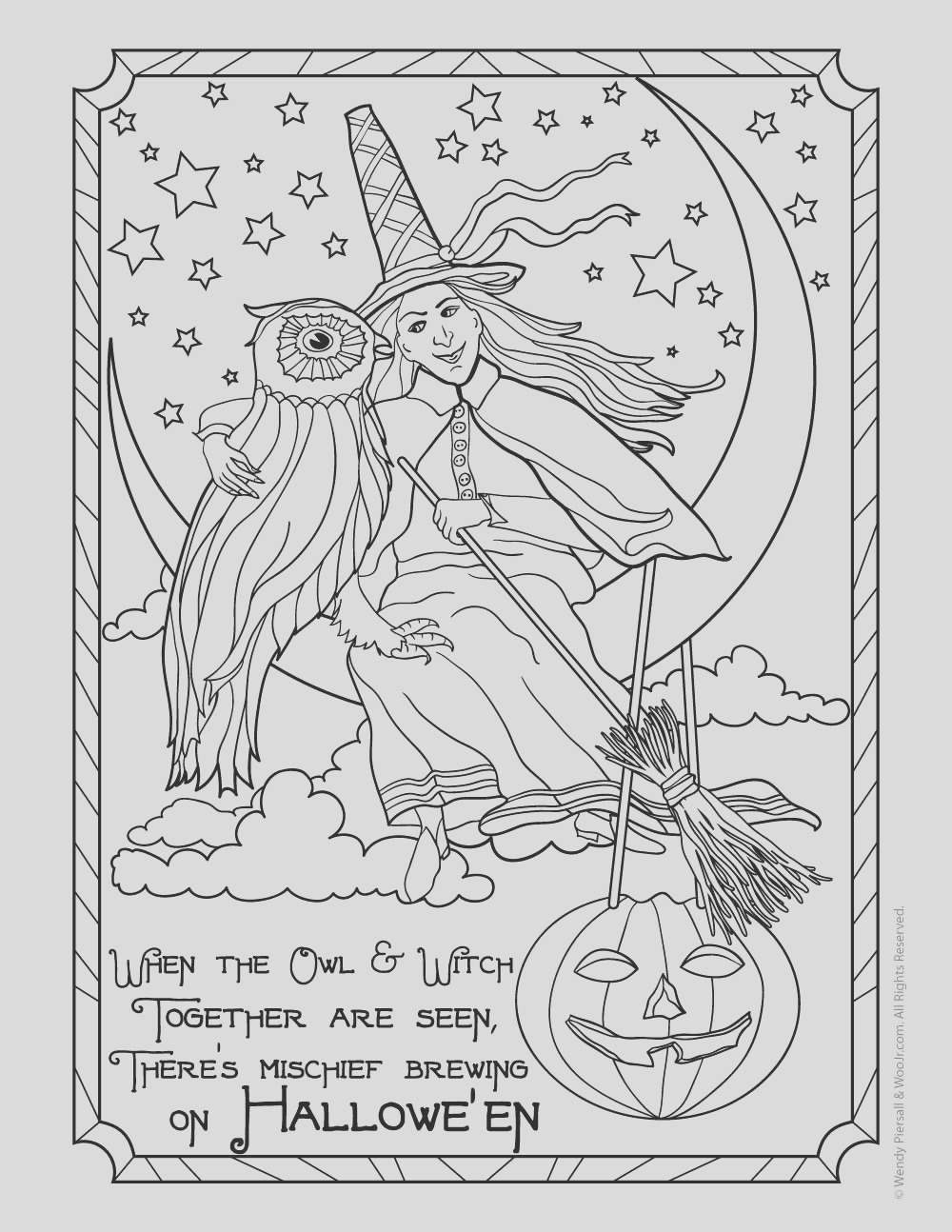 witch owl adult coloring
