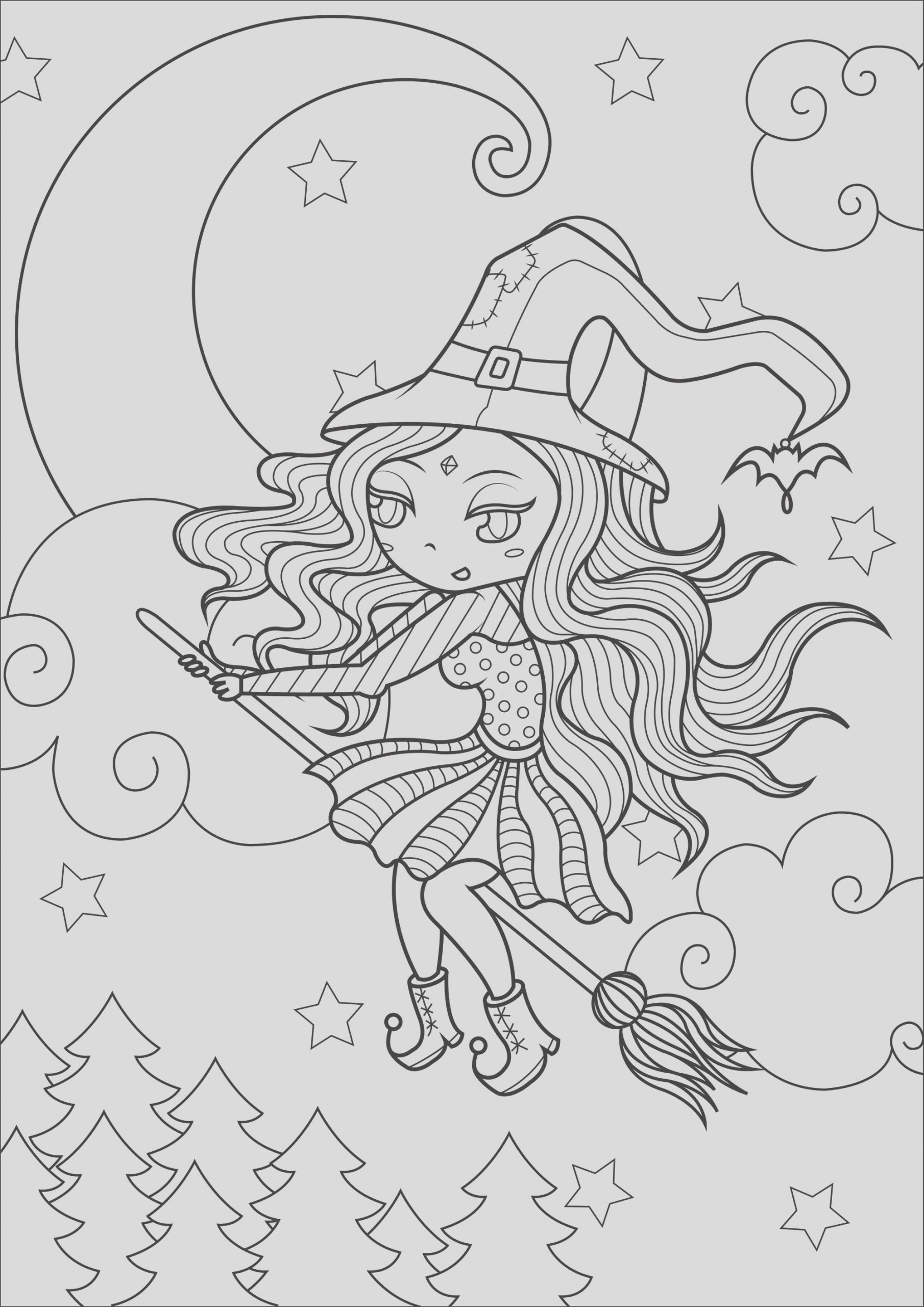 halloween adult coloring pages image=events halloween coloring simple happy witch 1