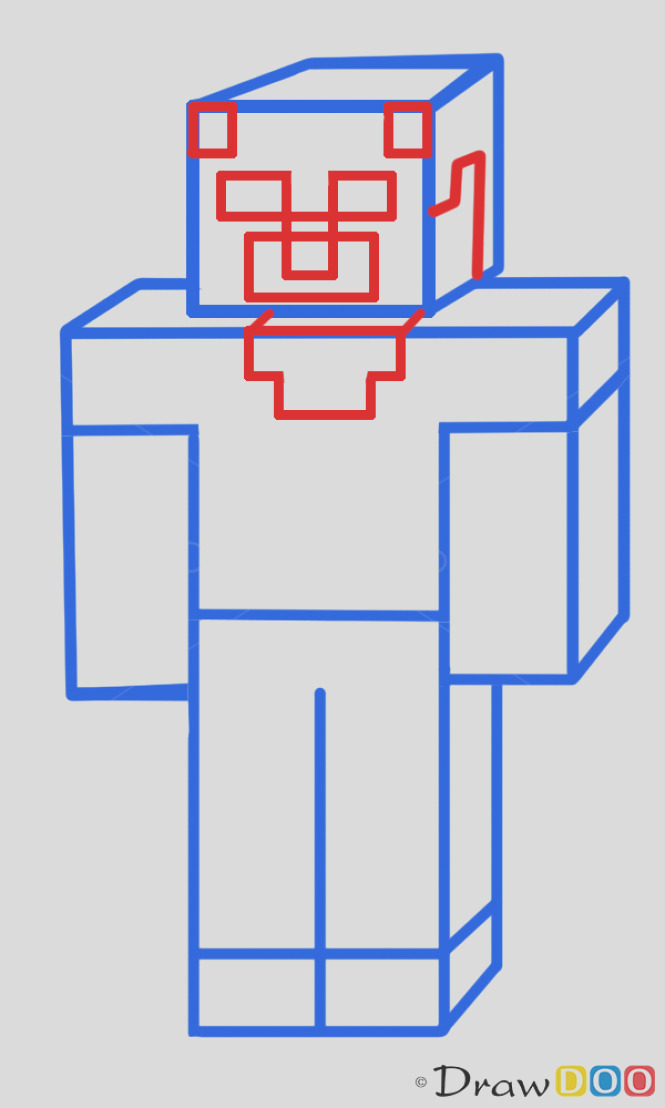 how to draw a minecraft